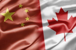 China and Canada flags