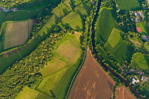 Aerial view of farms fields summer landscape
