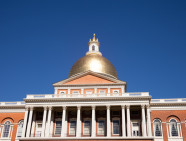 Massachusetts State Capitol House in Boston with blue sky background